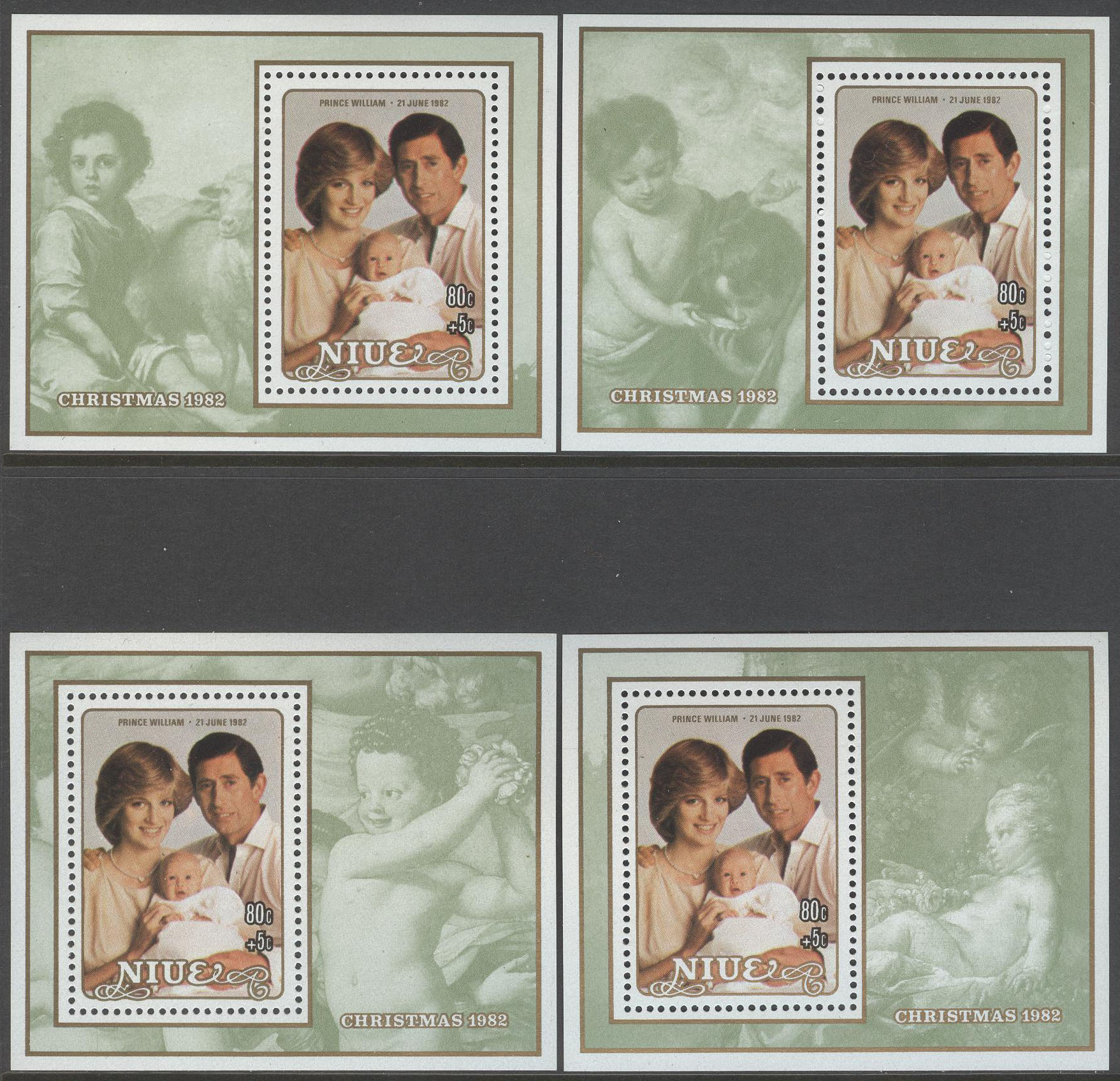 Niue - M BL  60-63 Jul 1982 Diana med Prins William, Block 4 st kpl **