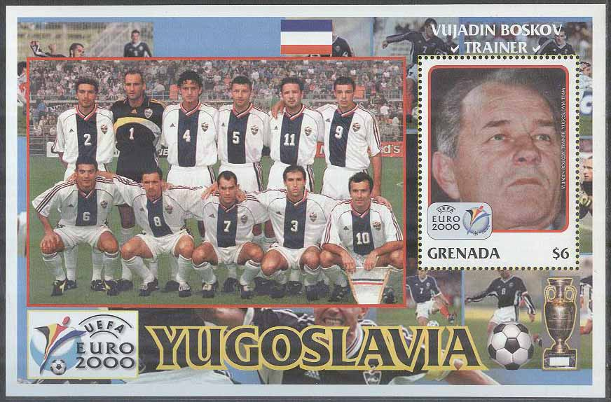 Grenada - M BL 570 EM i Fotboll i Belgien   Holland 2000 Jugoslavien 26de1165cc401