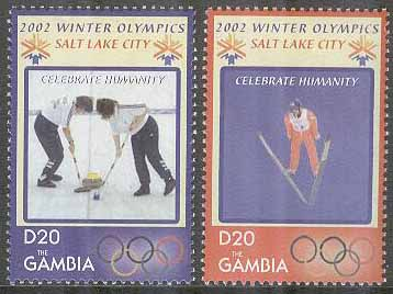 Gambia - M 4665-4666 OS i Salt Lake City 2002 Curling & Backhoppning, 2 kpl **
