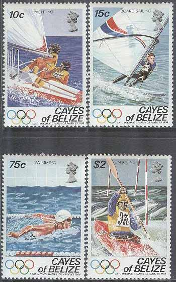 Belize - Cayes of Belize - M   14-17 OS i Los Angeles 1984 bla Segling, 4 kpl **