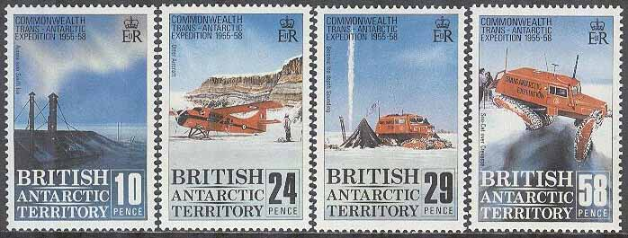 British Antarctic Ter. - M  148-151 Transantarktis-Expedition 30 år - Flyg, 4 kpl **
