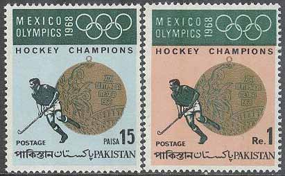 Pakistan - M  269-270 OS i Mexiko City 1968 Pakistan segrare i Landhockey, 2 kpl **
