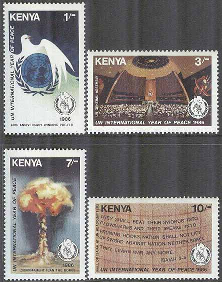 Kenya - M  356-359 Internationella Fredsåret 1986 - Fredsduva, 4 kpl **