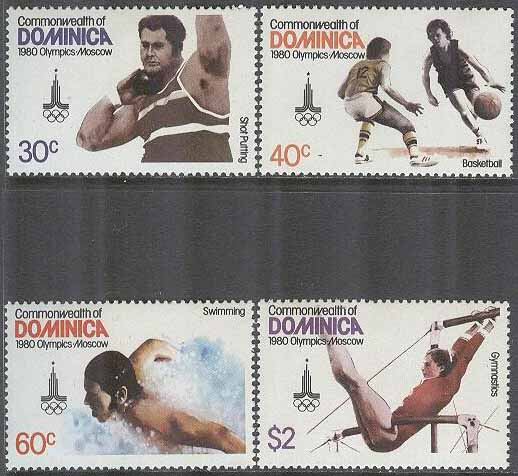 Dominica - M  667-670 OS i Moskva 1980 bla Basket & Simning, 4 kpl **