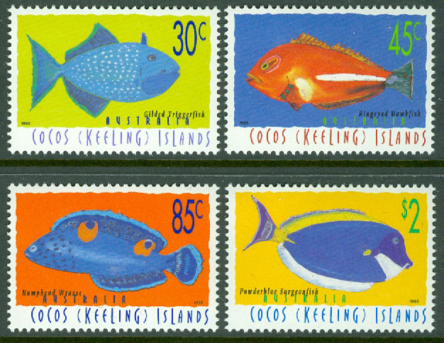 Cocos Islands - M  350-353 Fiskar, 4 kpl **