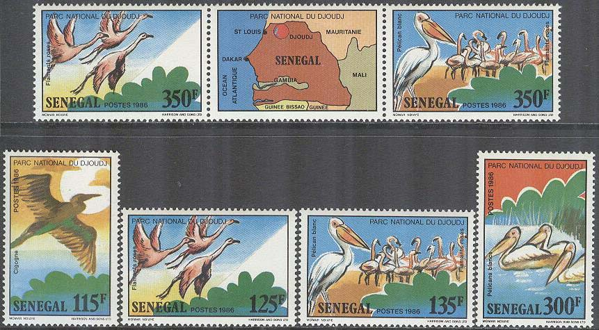 Senegal - M  948-953 + Zf Fåglar i Nationalparken Djoudj bla Stork, 4 + 3-strip kpl **