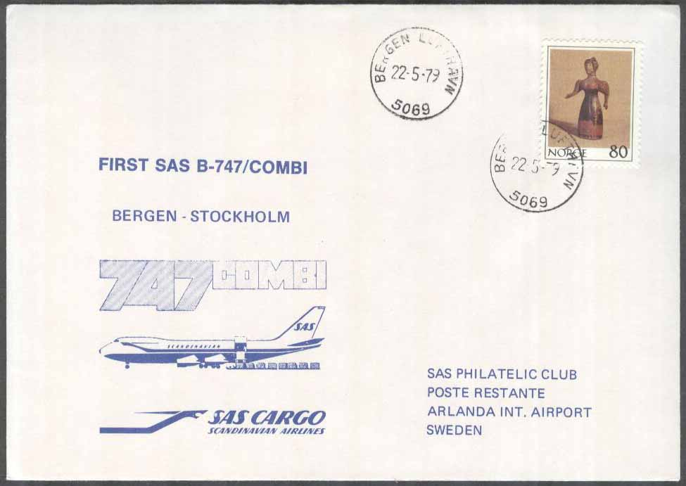 Norge - 1979-05-22 - First SAS B-747/Combi Bergen - Stockholm