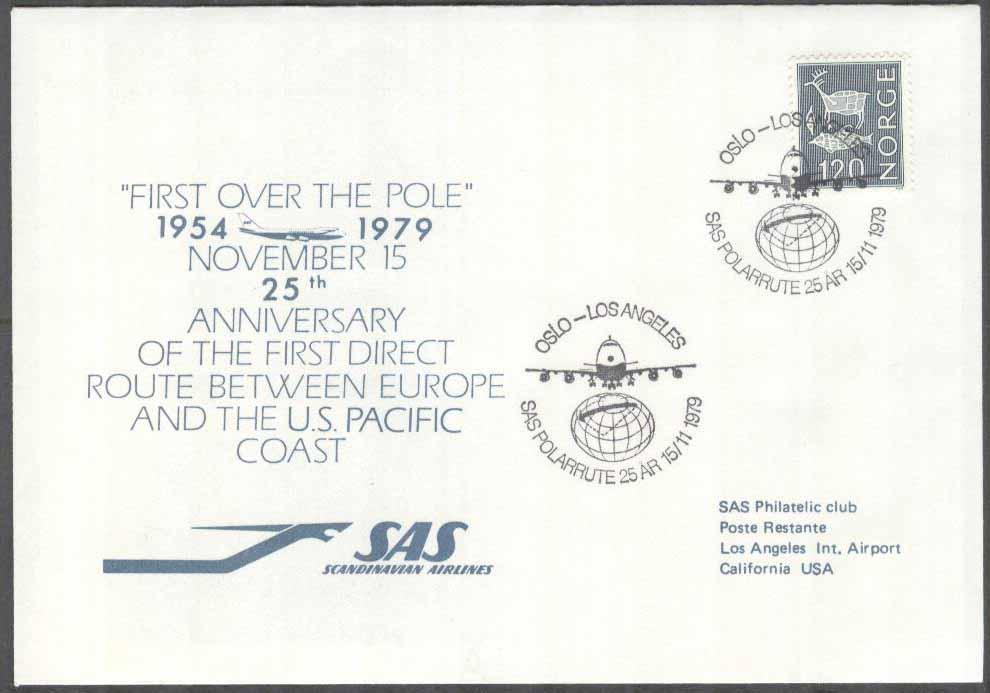 Norge - 1979-11-15 - 25TH Anniversary SAS Polar Route Oslo - Los Angeles