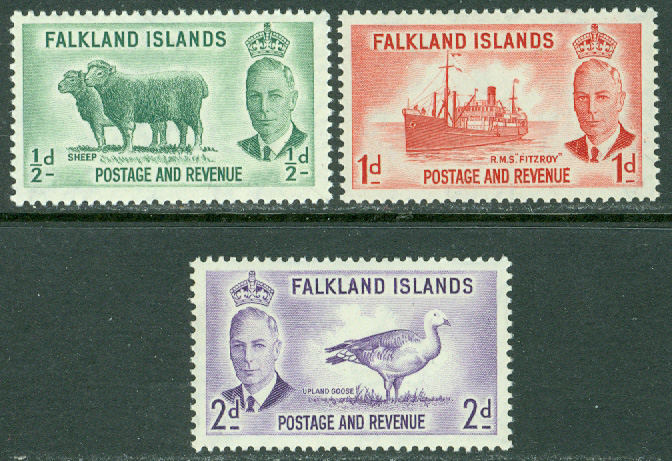 Falkland Islands - M  102-104 George VI, landsmotiv, 3 ol **