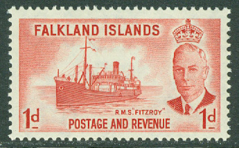 Falkland Islands - M  103 George VI, fartyget RMS Fitzroy, 1 P **