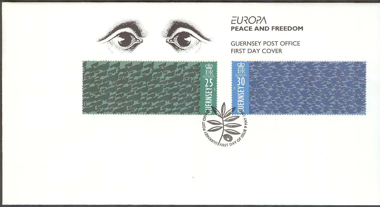 Guernsey - FDC 1995-05-09 - Europa CEPT 1995 Fred   Frihet 7b1f7763db1a3