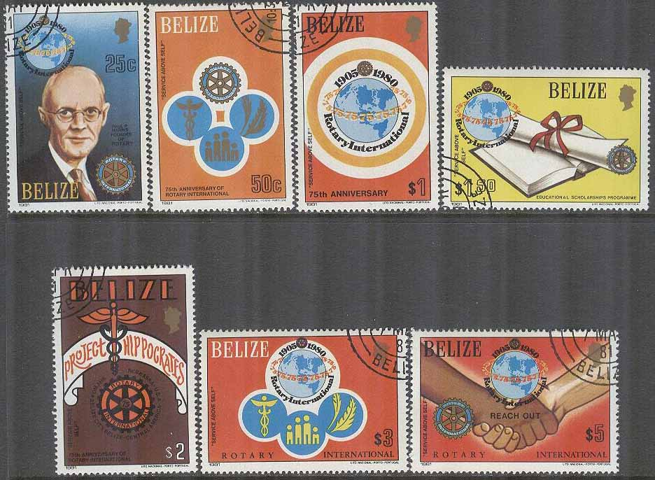 Belize - M  544-550 Rotary International 75 år, 7 kpl