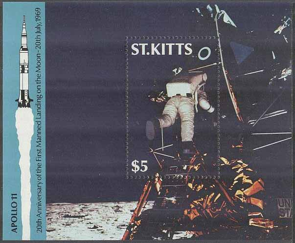 St. Kitts - M BL   9 Rymd - Apollo 11 på Månen för 20 år sedan, Block **