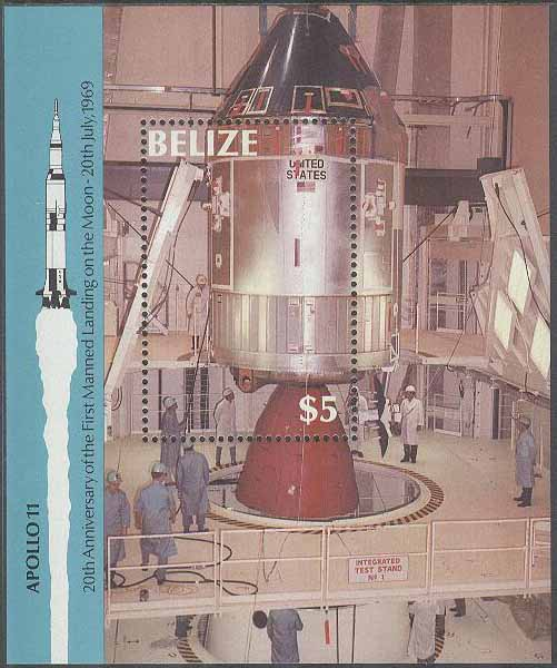 Belize - M BL  97 Rymd - Apollo 11 på Månen för 20 år sedan, Block **