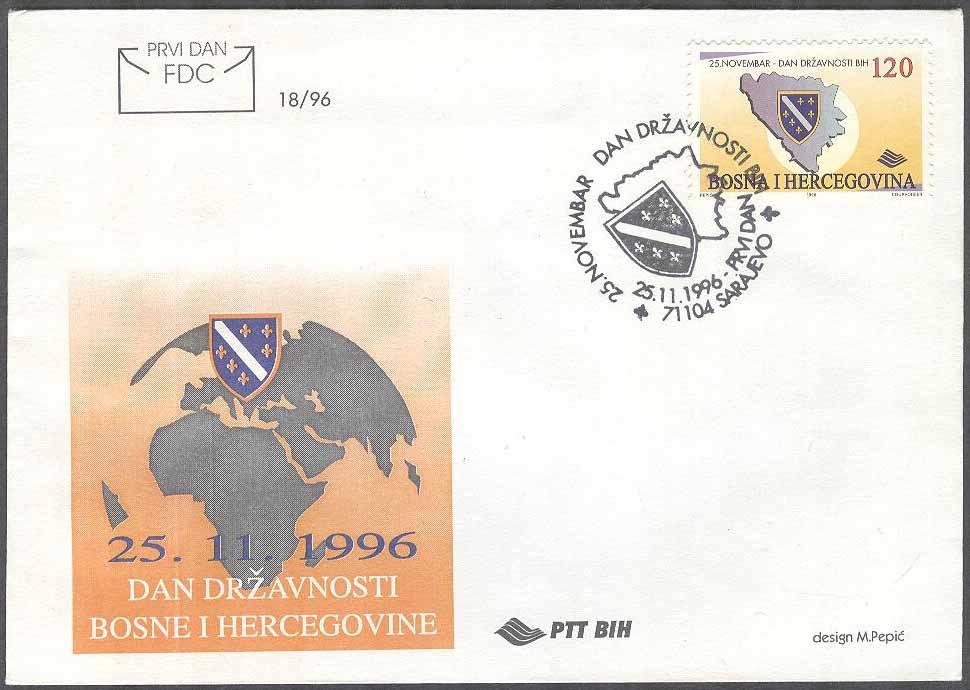Karta Bosnien Och Hercegovina.Bosnien Hercegovina Fdc 1996 11 25 Bosniendagen 1996 Karta