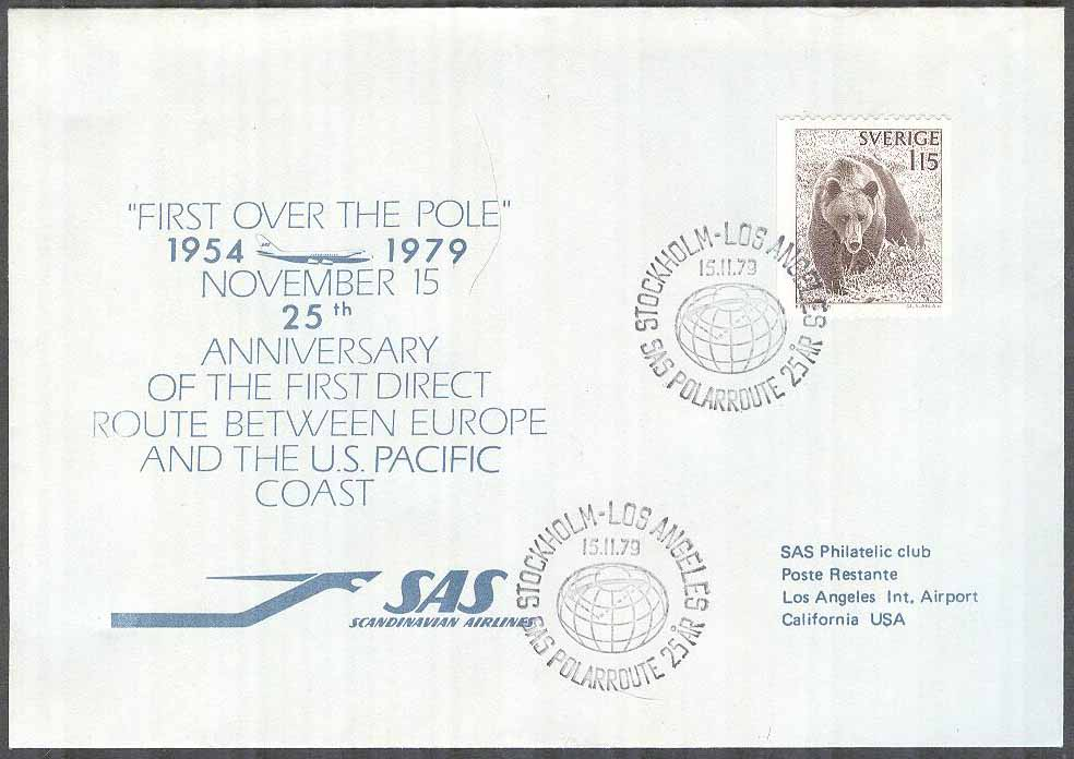 Sverige - 1979-11-15 -25TH Anniversary SAS Polar Route Stockholm - Los Angeles
