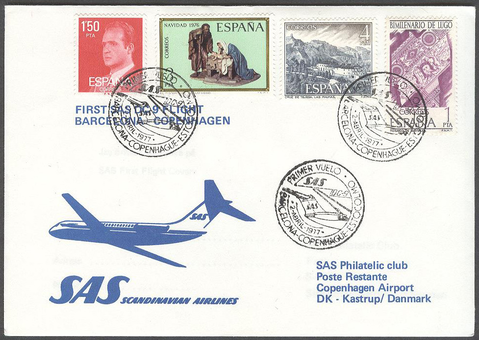 Spanien - 1977-04-02 - First SAS DC-9 Flight Barcelona - Copenhagen
