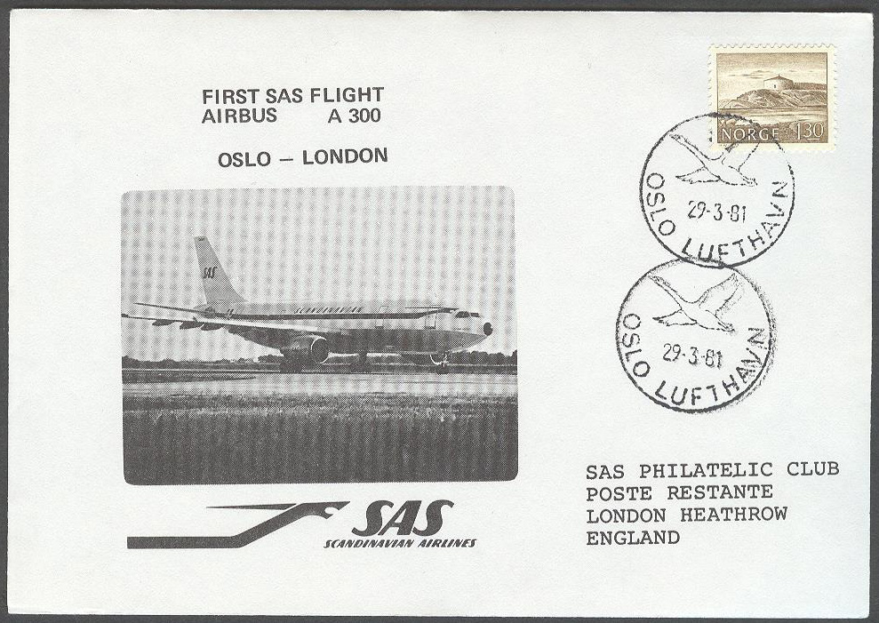 Norge - 1981-03-29 - First SAS Flight Airbus A 300 Oslo - London