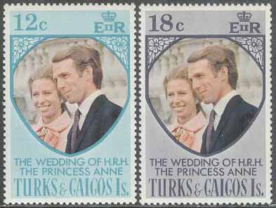 Turks & Caicos Islands - M  328-329 Bröllop Prinsessan Anne & Mark Phillips, 2 kpl **