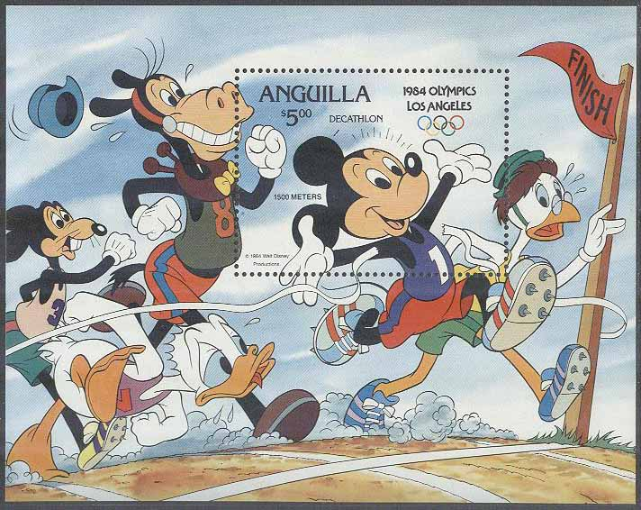 Anguilla - M BL  53 II Disney - Disneyfigurer i OS i Los Angeles 1984, Block **