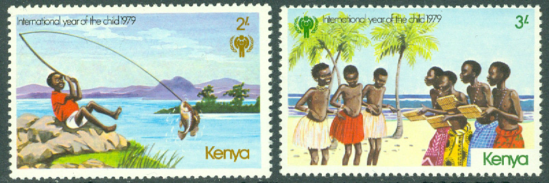 Kenya - M  136-137 Internationella Barnåret 1979 bl a fiske, 2 ol **