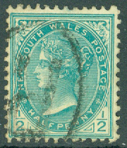 New South Wales - M   81 Drottning Victoria, ½ P stpl