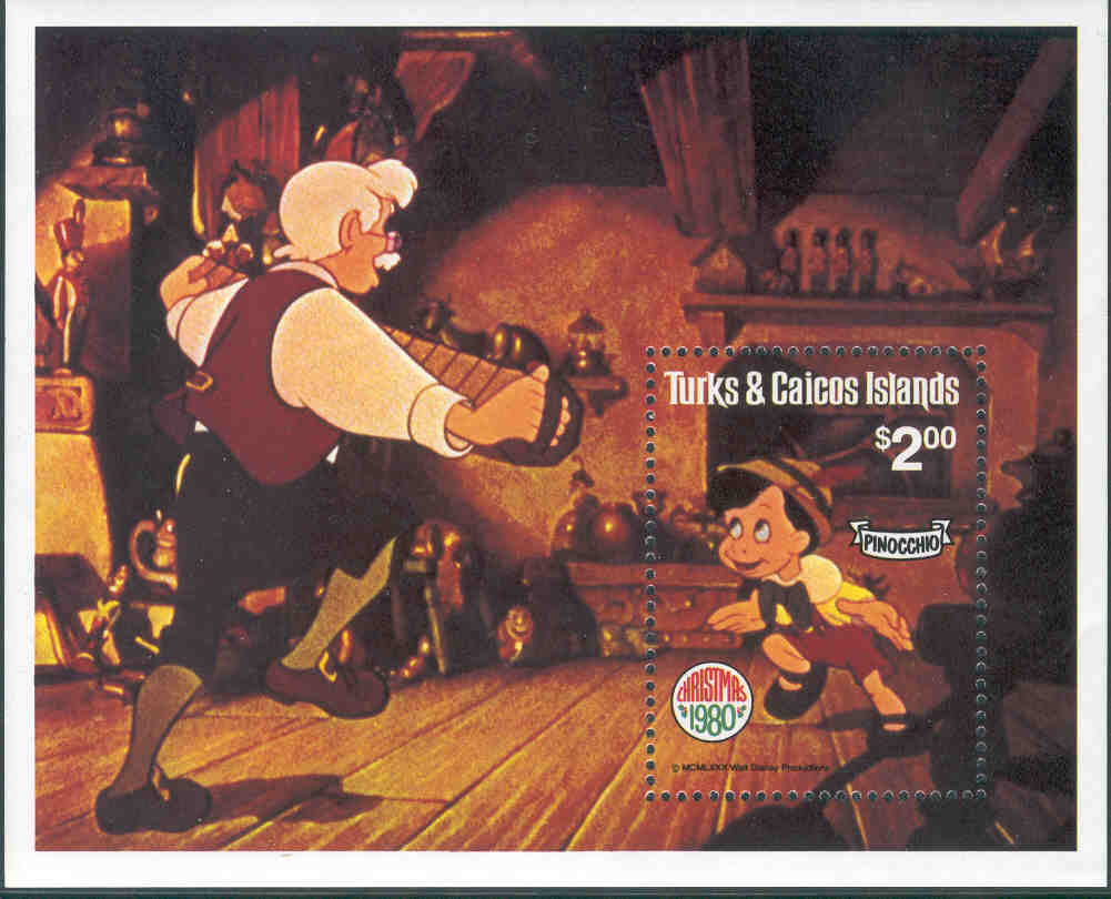 Turks & Caicos Islands - M BL  25 Disney. Pinocchio, block **