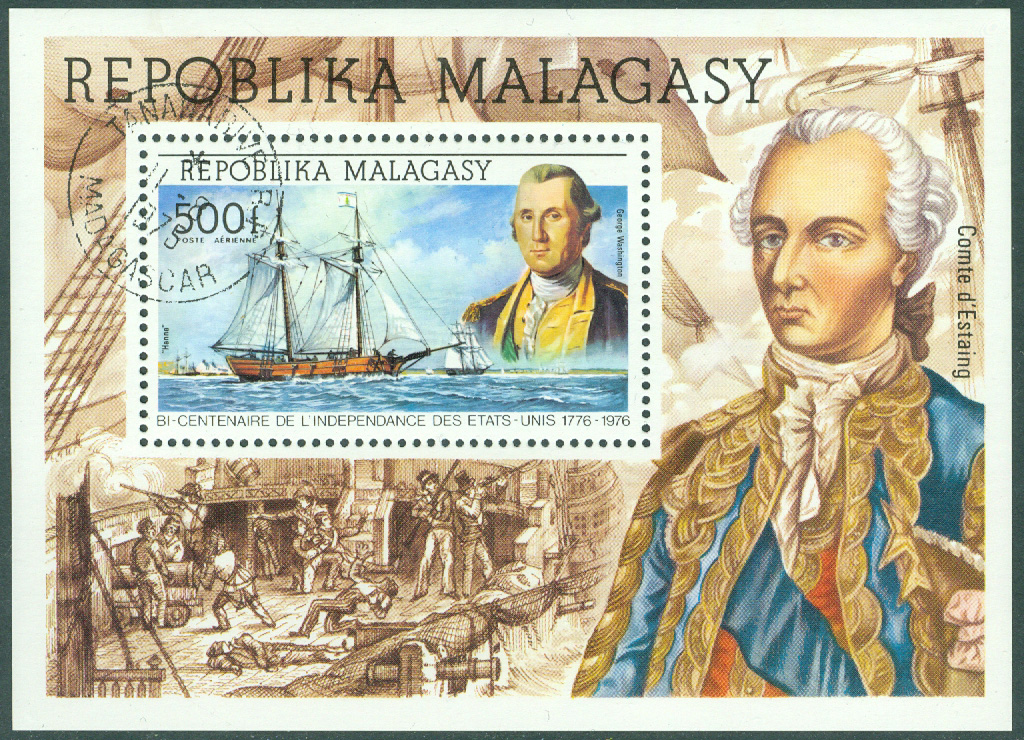 Madagaskar - M  747 (Bl 7) USA oavhängigt 200 år, Segelfartyg och George Washington, block stpl
