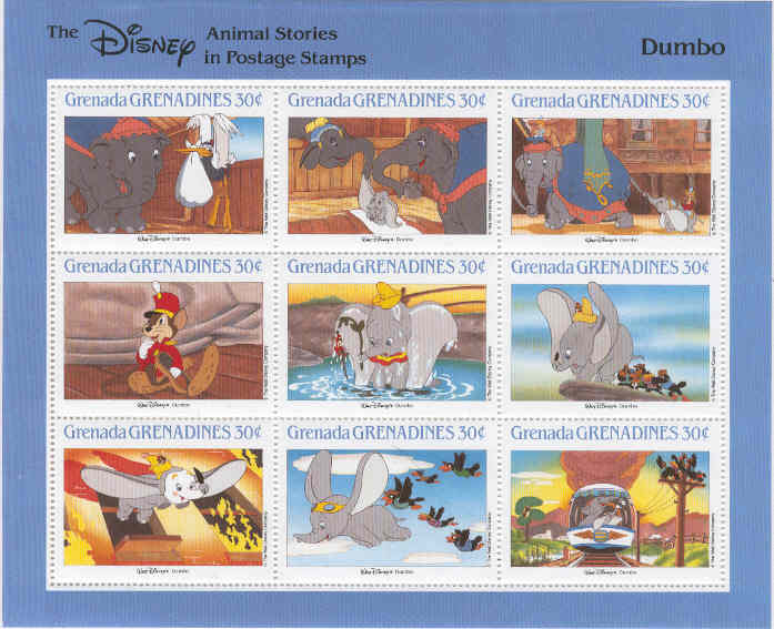 Grenada Grenadines - M 1000-1008 Disney - Dumbo, Miniark **