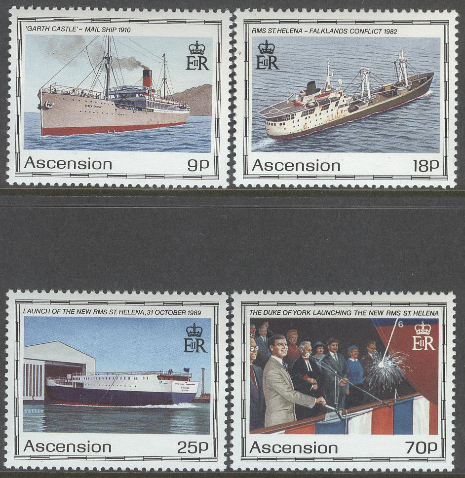Ascension - M  535-538 Fartyg bla RMS St. Helena II, serie 4 kpl **