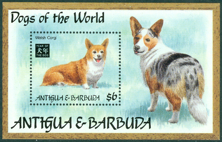 Antigua & Barbuda - M BL 288 Hundens år, Welsh corgi, block **