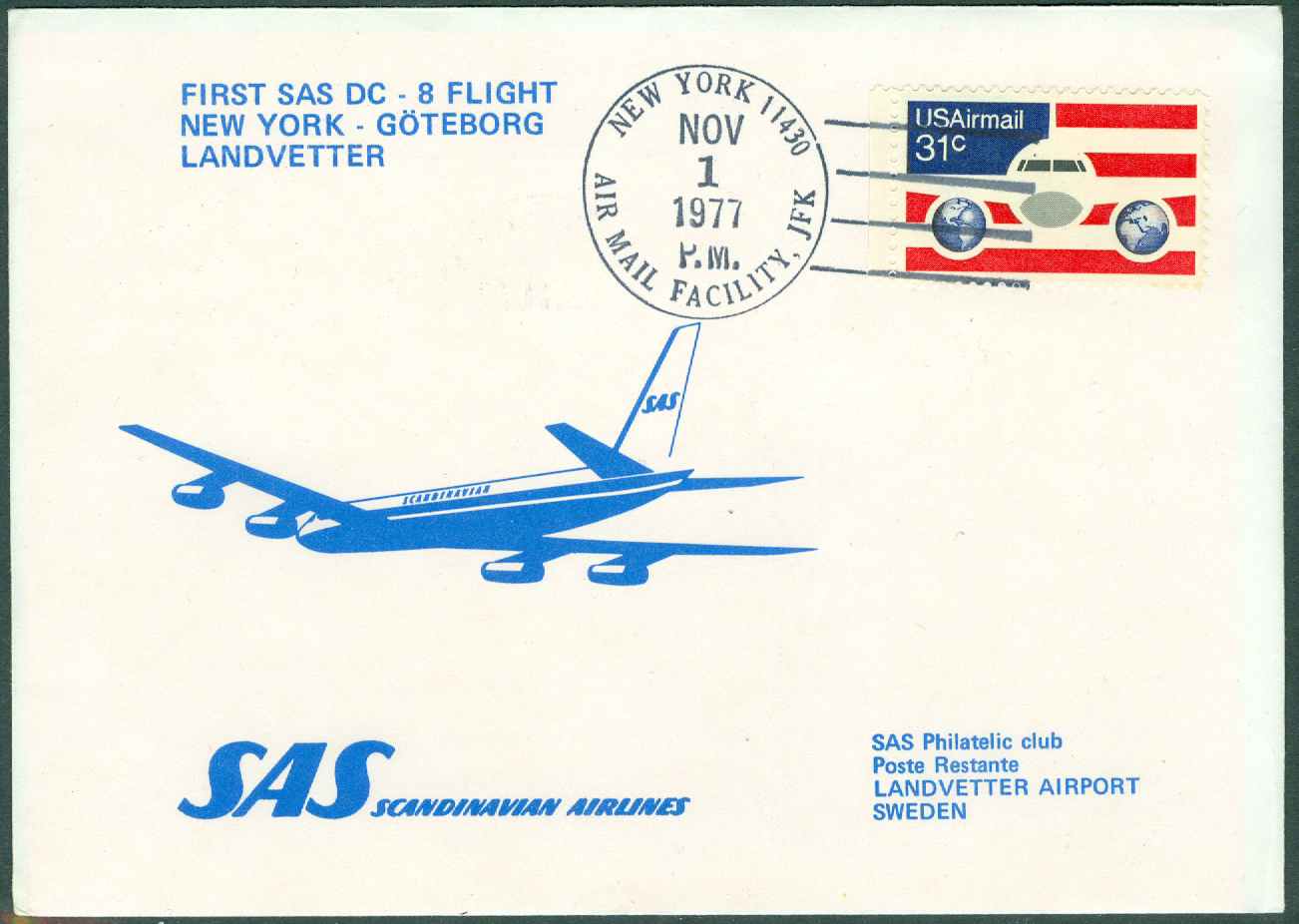 USA - 1977-11-01 - First SAS DC-8 Flight New York - Göteborg Landvetter