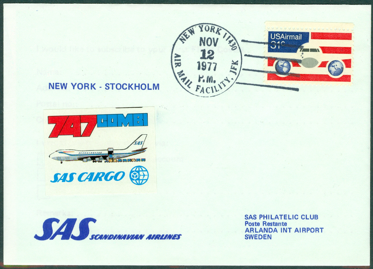 USA - 1977-11-12 - SAS Cargo 747 Combi / New York - Stockholm