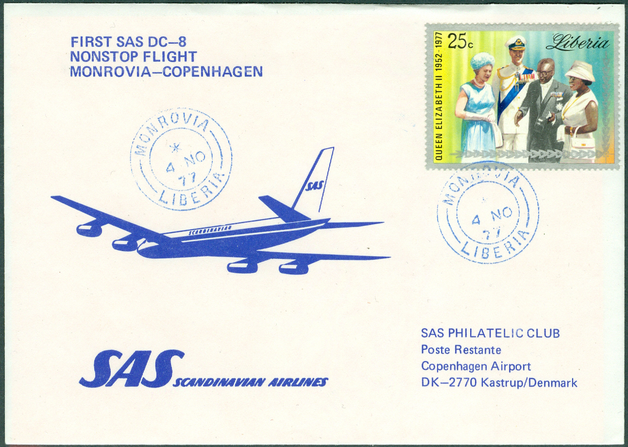 Liberia - 1977-11-04 - First SAS DC-8 Nonstop Flight Monrovia - Copenhagen