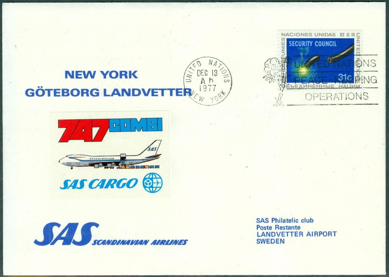 FN New York - 1977-12-13 - SAS Cargo 747 Combi / New York - Göteborg Landvetter