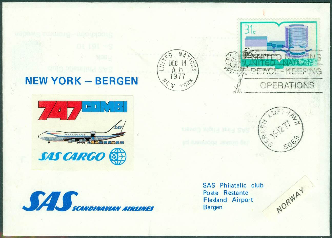 FN New York - 1977-12-14 - SAS Cargo 747 Combi / New York - Bergen