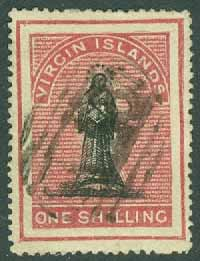 British Virgin Islands - M    5 Jngfru, 1 Sh stpl