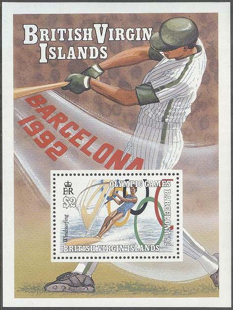 British Virgin Islands - M BL  66 OS i Barcelona 1992 Vindsurfing - Baseball, Block **