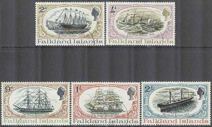 Falkland Islands - M  187-191 Ångsegelfartyget Great Britain, 5 kpl