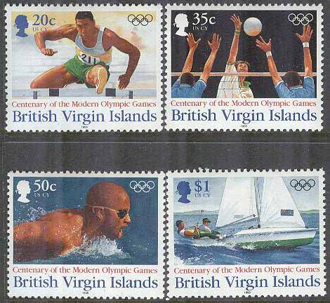 British Virgin Islands - M  857-860 Olympiska Spelen 100 år bla Vollyboll, 4 kpl **