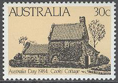 Australien - M  861 Nationaldagen 1984 - Cook's Cottage, märke kpl **