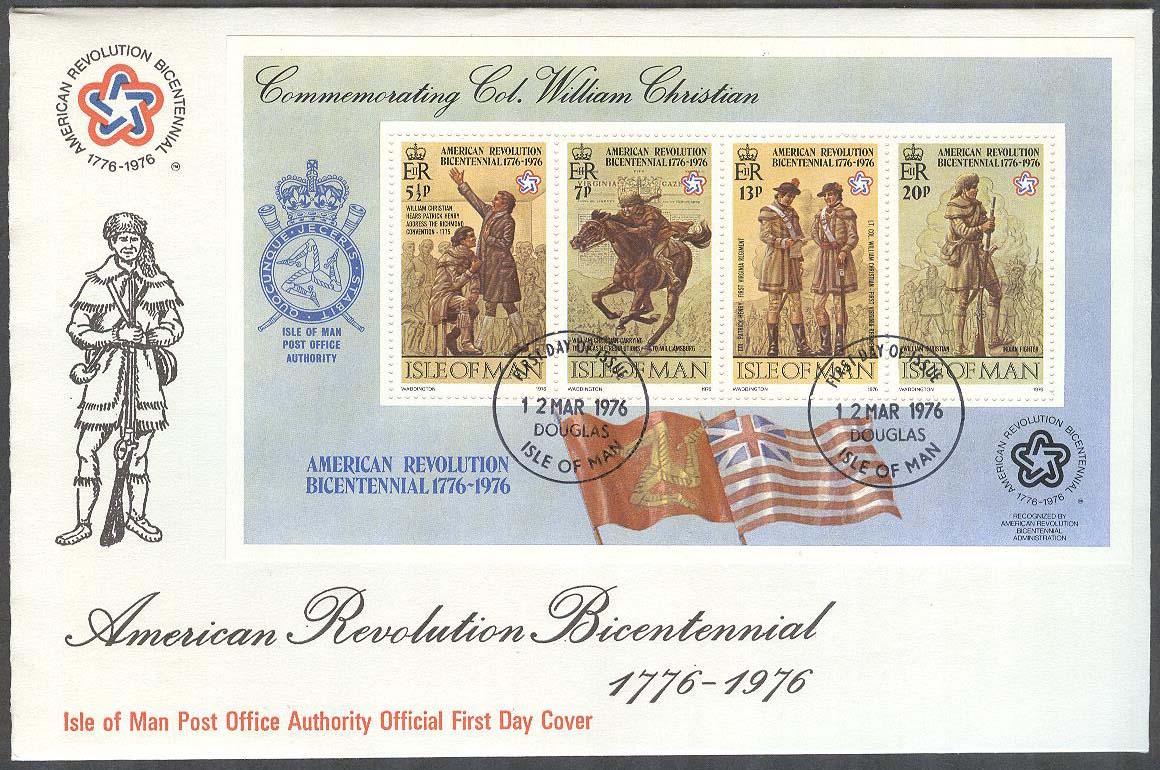 Isle Of Man Fdc 1976 03 12 Amerikanska Revolutionen 200 Ar