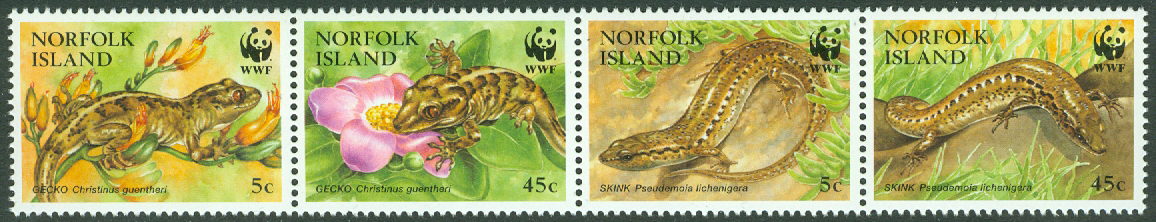 Norfolk Island - M  604-607 WWF, ödlor, bl a gecko, 4-strip kpl **