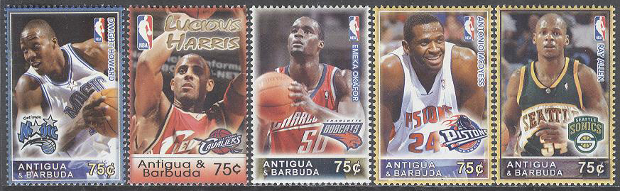 Antigua & Barbuda - M 4278-4282 Sport - Basketspelare i NBA bla Ray Allen , 5 kpl **