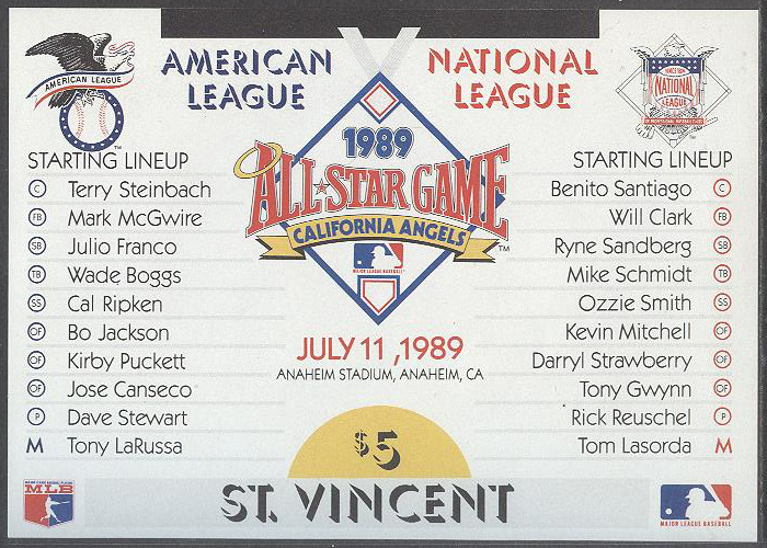 St. Vincent - M BL  79 Sport - Baseball - All Star Game 1989, Block **