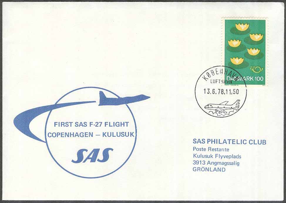 Danmark - 1978-06-13 - First SAS F-27 Flight Copenhagen - Kulusuk