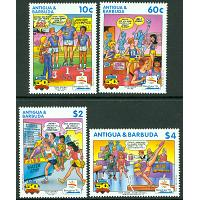 "Antigua & Barbuda - M 1537, 1540, 1542-1543 OS i Barcelona 1992, "" Archie Comic Publications""  50 år, 4 ol **"
