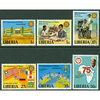 Liberia - M 1161-1166 A Rotary International 75 år, 6 kpl stpl