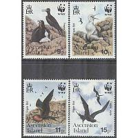 Ascension - M  521-524 Fåglar - Ascensionfregattfågel - Naturskydd - WWF, 4 kpl **